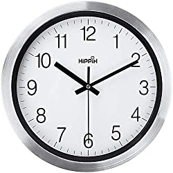 HIPPIH 12 Inch Silent Wall Clock, Non-Ticking Indoor Decorative Large Silver Aluminium Clocks for Office/Bedroom/Kitchen/Living Room/School