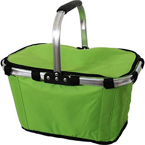 Collapsible Insulated Market Tote Basket Foldable - Lime