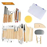 Hotab 45pcs Set Wooden Pottery & Clay Sculpting Tools with Plastic Case