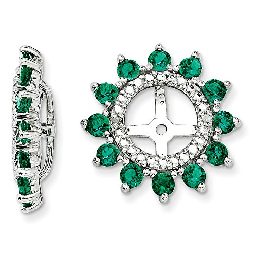 ICE CARATS 925 Sterling Silver Diamond Created Green Emerald Earrings Jacket Birthstone May Fine Jewelry Gift Set For Women Heart by ICE CARATS