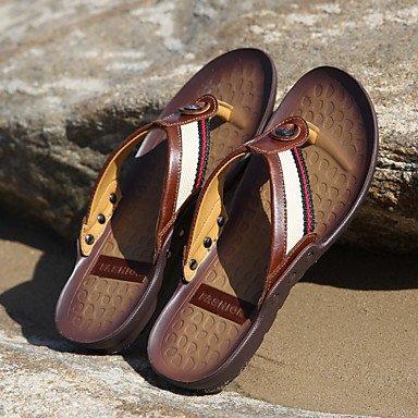 Sandalias de verano zapatos de hombre Casual / Exterior / tejido cuero Nappa sandalias Flip-Flops / negro / marrón / Orange Brown