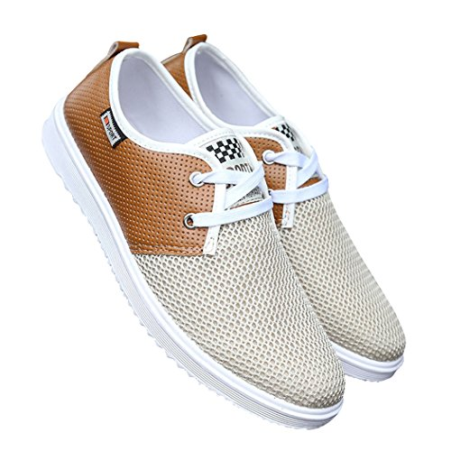 Zon Lorence Heren Casual Lichtgewicht Lace-up Populaire Mode Mesh Sneakers Bruin 40