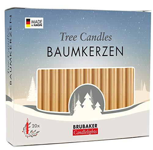 - BRUBAKER Tree Candles - Pack of 20 - Golden - 9.5cm - Pyramids & Chimes