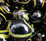 "Unique & Custom {1"" Inch} Approx 2 Pound Set of Big ""Round"" Opaque Marbles Made of Glass for Filling Vases, Games & Decor w/ Shiny Dark Dramatic Bee Hive Swirl Design [Black & Yellow Colors]"