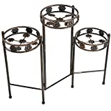 Sunnydaze 3-Tiered Folding Plant Stand, 29 Inches Tall