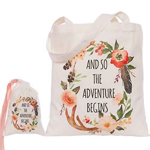 Ling's moment Bohemian Wreath Floral And So the Adventure Begins Canvas Tote Bag Bride Bridesmaid Gift Wedding Bridal Party Gifts Tote Bags - 100% Cotton, Reusable, Durable (Wedding Tote)