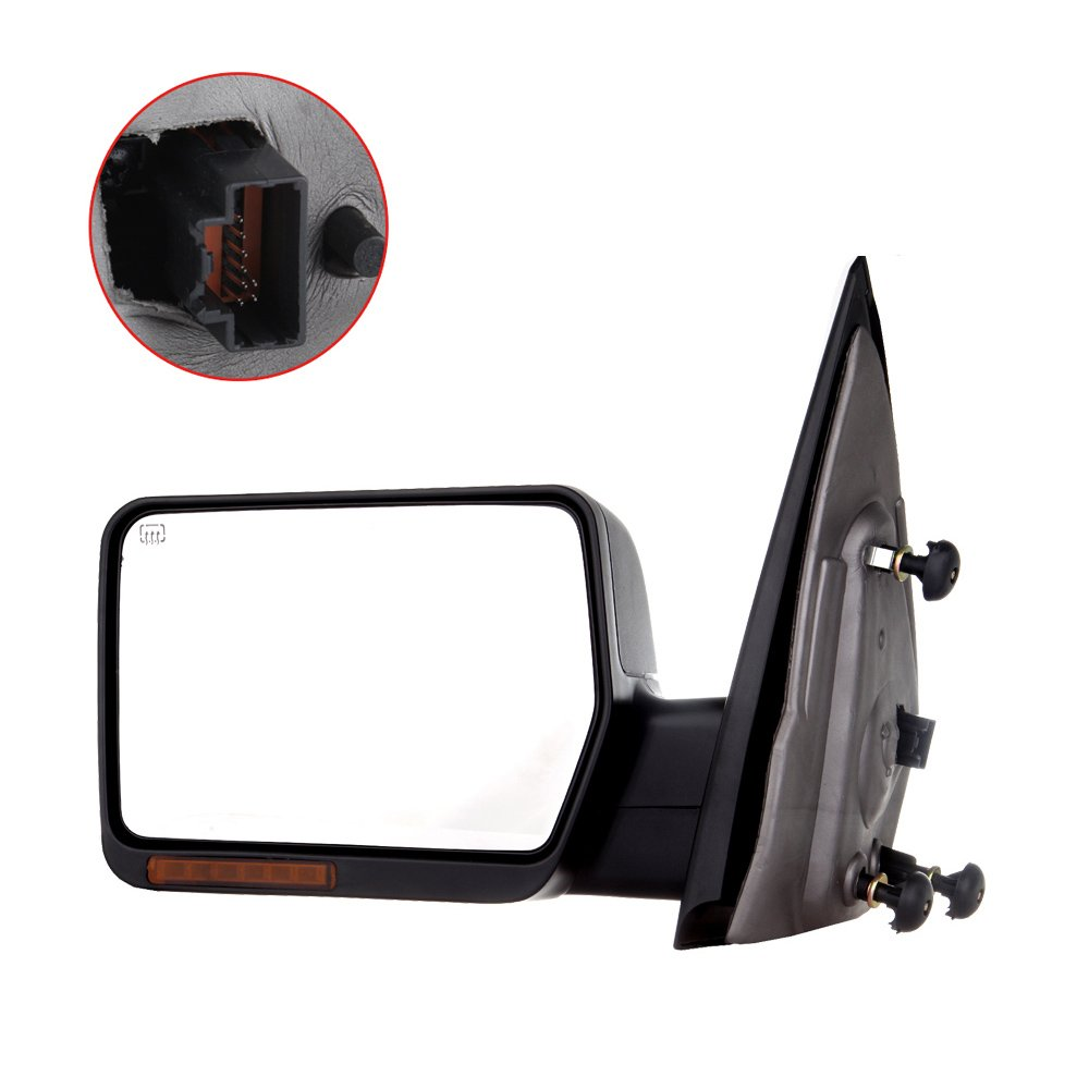 Towing Mirror for 2004-06 Ford F-150 Rear View Mirror Automotive Exterior Mirror with Power Heated Front LED Signals (Driver Side) by SCITOO