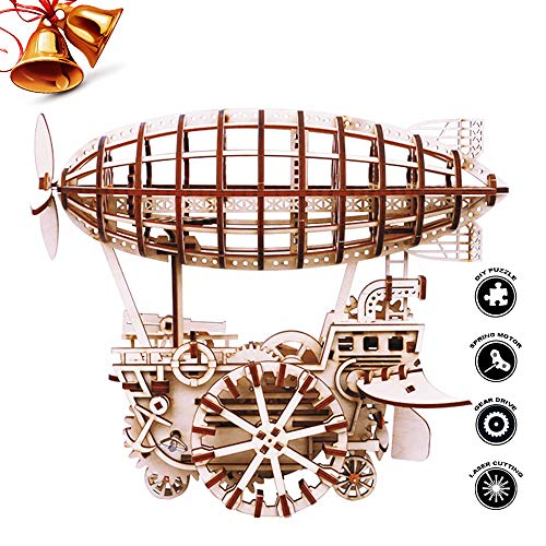 ROBOTIME 3D Puzzle Brain Teaser Games Wooden Laser-Cut Air Vehicle Kits Engineering Toys STEM Learning Kits Mechanical Gears Set Best Birthday Gifts for Adults to Build