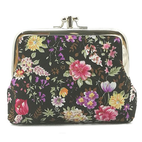 Lavogel Women's Cute Floral Buckle Coin Purses Retro Change Purse Wallets Credit Cards Pouch (LA02)