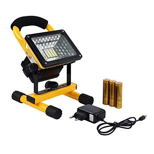 Latinaric 30W LED Akku Flutlicht Scheinwerfer 360°Drehbar Sicherheit Baustrahler Strahler IP65 für Camping Outdoor mit 3 Leucht Mode