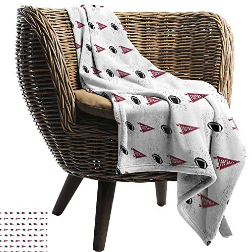 BelleAckerman Weighted Blanket Adult,Football,Sports Symbols Pennants Balls with Retro Burst Effect Graphic Game Icons,Maroon Black White,Soft, Fuzzy, Cozy, Lightweight Blankets 35