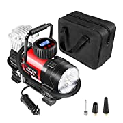 #LightningDeal Tire Inflator Pump, Portable Air Compressor 12V 150 PSI with Digital Display Gauge, LED Flashlight, Overheat Protection, Extra Nozzle Adaptors, Avid Power