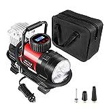 Portable Air Compressor Pump, Tire Inflator 12V 150 PSI with Digital Display Gauge, LED Flashlight, Overheat Protection, Extra Nozzle Adaptors, Masterworks MACP087