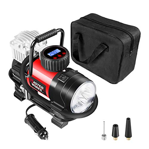 Portable Air Compressor Pump, Tire Inflator 12V 150 PSI with Digital Display Gauge, LED Flashlight, Overheat Protection, Extra Nozzle Adaptors, Masterworks MACP087