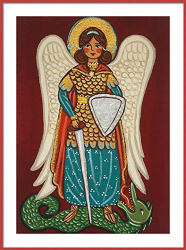 Saint Michael the Archangel print Saint Michael print St Michael print Guardian Angel print Guardian Angel painting Guardian Angel picture Catholic wall art Catholic saint print Catholic painting