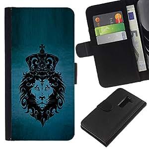 NEECELL GIFT forCITY // Billetera de cuero Caso Cubierta de protección Carcasa / Leather Wallet Case for LG G2 D800 // MAJESTIC LION KING PATRÓN