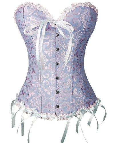[All-corset Women's Plus-Size Lace Up Boned Overbust Corset XXXX-Large Blue] (Blue Sequin Corset)