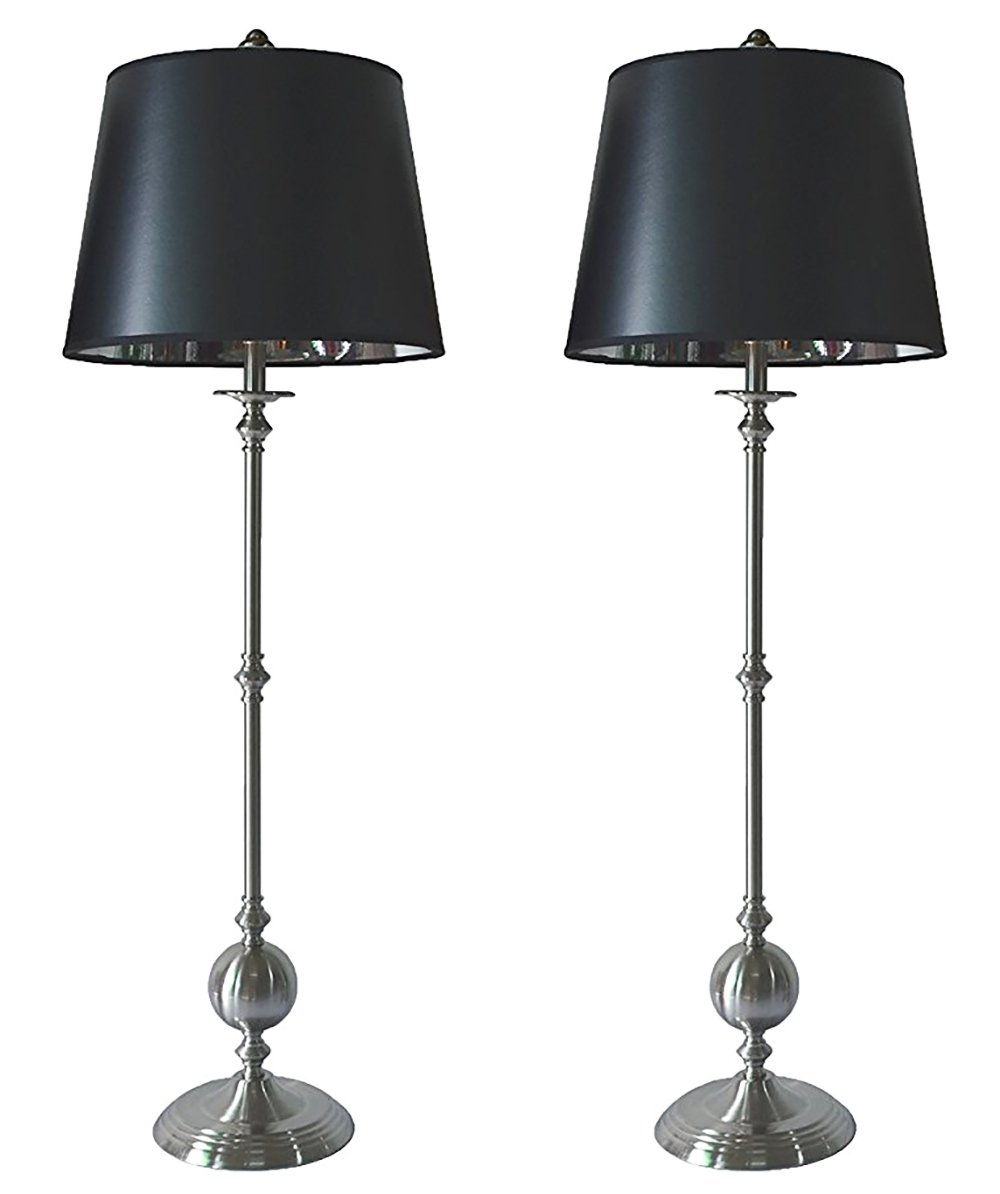 Urbanest Set of 2 Bastille Buffet Lamps in Brushed Nickel with Black with Silver Foil Liner Shades