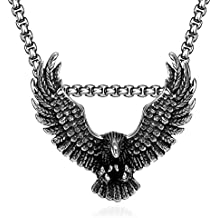 Mens Pendant Necklace Hawk Eagle Wings Stainless Steel 24inch Chain Silver Black Vintage Punk Biker