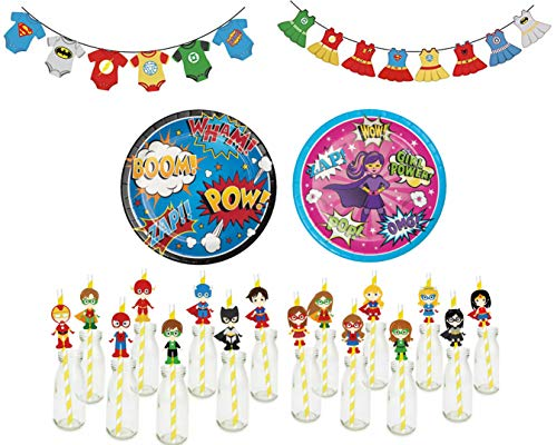 Superhero Gender Reveal Party Supplies Kit-16 Guests Party Banners, Plates, Napkins, Comic Book Inspired Straws, Blue and Pink Cups,Gold Silverware -
