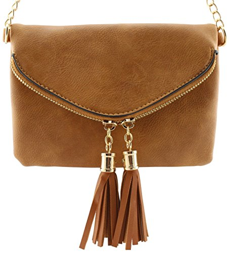 Soft tassels shoulder envelope crossbody Tan chain detail detail small leather with bag 44BrCw