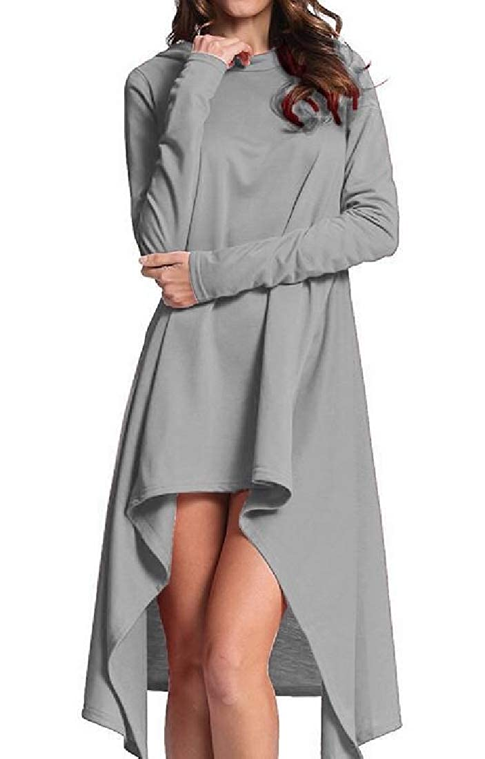 Fensajomon Women Irregular Long Sleeve Fashion Solid Hoodie Pullover Sweatshirt