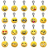 (Pack of 20) Aspire Emoji Plush Pillow Keychain, Emoticon Pillow, 2 Inch, Assorted