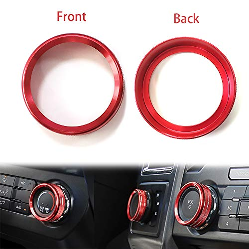 Black Abfer Air Condition Control Switch Ring Shape Car Conditioning Button Cover Four-Wheel Drive and Trailer Control Knob Ring 6pcs Aluminum Decorative Knobs for Ford F150 XLT 2016 2017