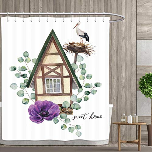(Anemone Flower Shower Curtains Waterproof Watercolor Happy Home Label House in Alpine Style White Stork Nest Fabric Bathroom Decor Set with Hooks 72