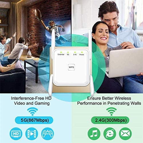 WiFi Range Extender, 1200Mbps Wireless Signal Repeater Booster, Dual Band 2.4G and 5G Expander, 4 Antennas 360° Full Coverage, Extend WiFi Signal to Smart Home & Alexa Devices(KW1203M01)