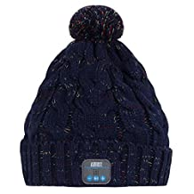 August EPA30 – Wireless Bluetooth Beanie - Winter Knit Hat with Bluetooth Stereo Headphones, Microphone, Hands Free System and Rechargeable battery - Compatible with Mobile Phones, iPhone, iPad, Laptops, Tablets, Smartphones (Navy Blue)