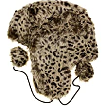AN Women's Leopard Trooper Trapper Ski Hat - Light brown - One Size