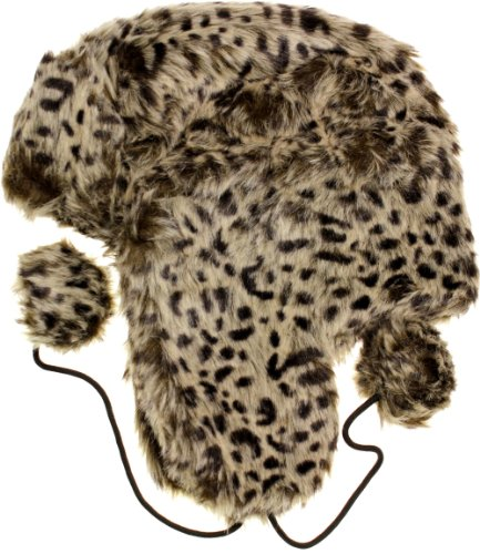 AN Women's Leopard Trooper Trapper Ski Hat - Light brown - One Size