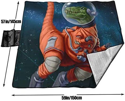 Singledog Coperta da Picnic Dinosauro Astronauti Rex Stuoia da Spiaggia Portatile Impermeabile per 145X150 cm
