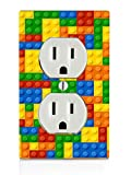 Colorful Bricks Design Print Image Electrical Outlet Plate