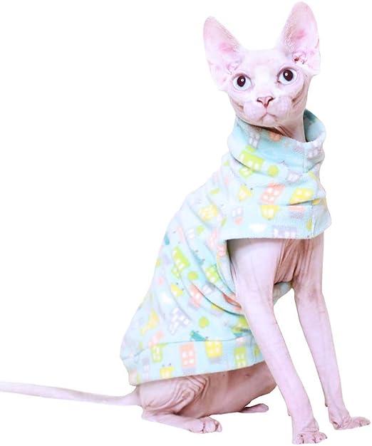 Khemn Luxury - Jersey para Gato con Estampado de Casas de Color Azul Claro con Franela Gruesa para Gato sin Pelo: Amazon.es: Productos para mascotas