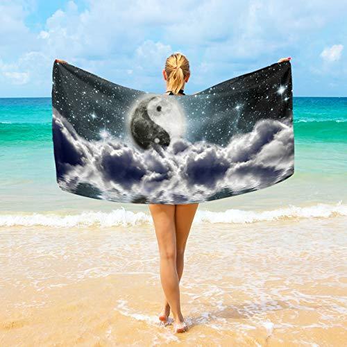 WIHVE Quality Beach Towel Taiji Yinyang Sky Large Beach Blanket High Absorbency Multi-Purpose Bath Towel 37 X 74 Inches