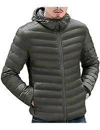 Men's Lightweight Packable Hooded Down Jacket Ultralight Winter Zip Puffer Coat