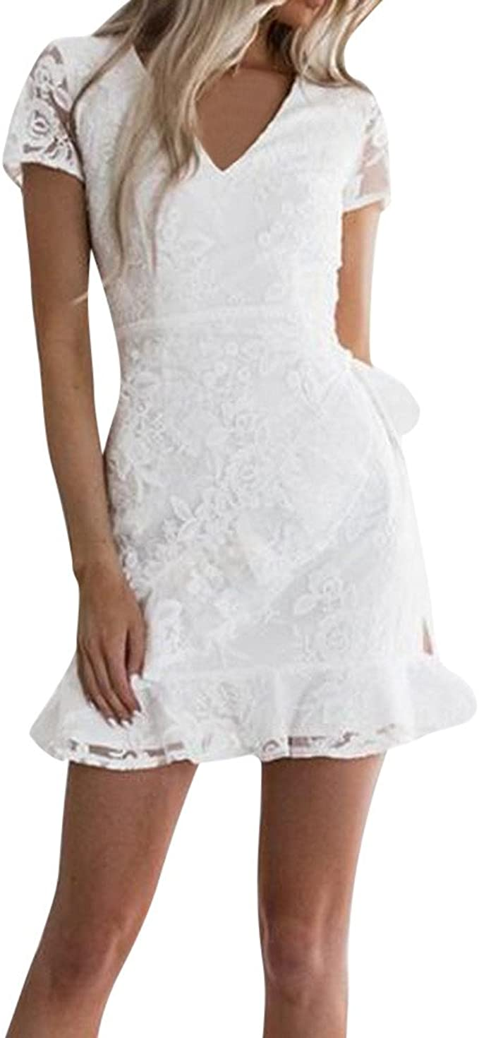Goosuny Damen Abendkleid Spitze Kurzarm Kleider Enge Kleid