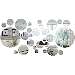 Shappy 32 Pieces Round Circle Mirror Setting Wall Sticker Decal Home Decoration