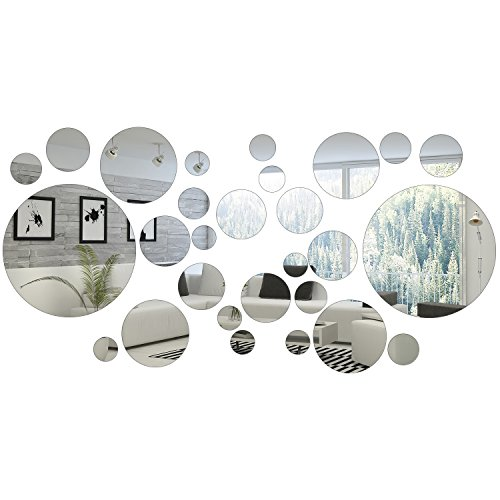 Sticker Decal Mirror - 32 Pieces Removable Acrylic Mirror Setting Wall Sticker Decal for Home Living Room Bedroom Decor (Style 1, 32 Pieces)