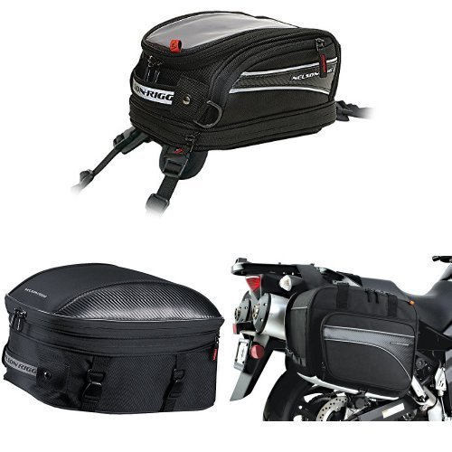 Nelson-Rigg CL-2014-ST Black Strap Mount Journey Mini Tank Bag,  CL-1060-ST Black Sport Touring Tail/Seat Pack,  and  (CL-855) Black Touring Adventure Saddlebag (Nelson Rigg Sport Mini)