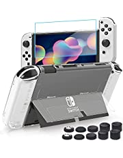 Case for Nintendo Switch OLED Model 2021, BRHE Ultra-Slim Clear Hard PC Cover All-Round Protective Shell for NS OLED Console & Joycon with Glass Screen Protector/ Thumb Grip Caps