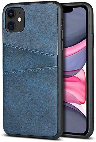 FAWUMAN Handyhülle für iPhone 11(6.1 inch),Wallet Handytasche PU Leder Schützende präzise mit Zwei Kartenfach (Blau)
