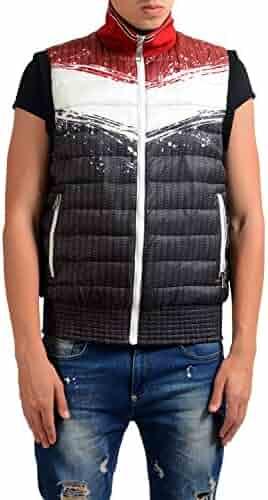 b8d80041b3 Just Cavalli Men's Graphic Reversible Full Zip Padded Vest US S IT 48