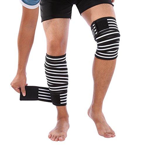 DOACT Rodillera Ajustable Transpirable abierto Soporte para Alivio de Dolor Articular, Artritis,Rotura del Menisco, Deportes Correr para Mujer y Hombre Prevenir lesiones (2 pcs) Blanco y negro(190cm)
