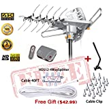 LAVA Outdoor 360 Degree Long Range 4K HDTV Antenna up to 150 Miles with Remote Rotation, UHF/VHF/FM Radio with Remote Control plus installtion Kit and J-pole