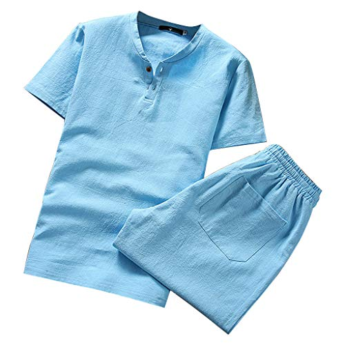 Linen Sets for Men Kstare Mens Suit Summer Short Sleeve Comfy Soft Blouse T-Shirt Top Shorts Pants Set Sportwear Sky Blue
