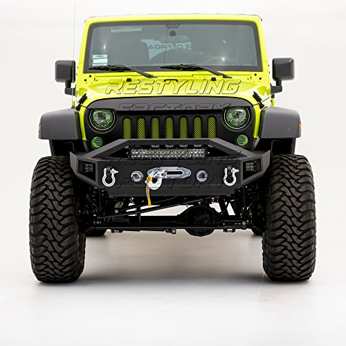Restyling Factory - Black Textured Rock Crawler Stubby Front Bumper with OE Fog Light Hole, with 21