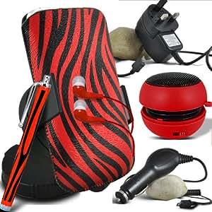 ONX3 Nokia Asha 500 protección Zebra PU Leather Slip Tire Cord En la bolsa del lanzamiento rápido con Mini capacitivo Stylus Pen, 3.5mm en auriculares del oído, mini altavoz recargable Cápsula, 360 Rotación del parabrisas del coche horquilla del sostenedor del montaje, Micro USB CE aprobó 3 Mains Pin Cargador, 12v Micro USB cargador de coche (Rojo y Negro)